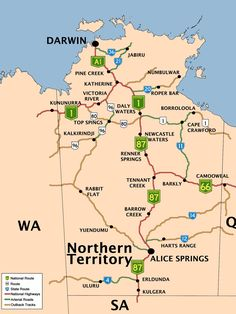A road map of the Northern Territory of Australia. Australia Map, Darwin Australia, Western Australia, Roadtrip Australia, Brisbane, Sydney, Melbourne, Travel Oz, Travel Route