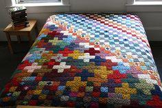 "Amazing crochet afghan: 1089 little 2"" squares!"