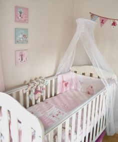 A Beautiful Nursery Fit for any Princess! Come on in and have a look around for some great Ideas on Small Bedroom spaces. Girl Nursery Themes, Nursery Decor, Beautiful Baby Girl, Projects For Kids, Kids Bedroom, Baby Room, Toddler Bed, Babies Rooms, Home And Family
