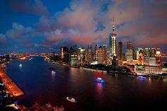 Huangpu River divides old and new Shanghai CBD