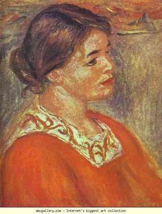 Pierre-Auguste Renoir. Woman in a Red Blouse. Olga's Gallery.