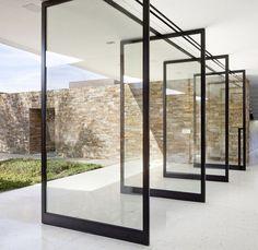 Glass House Design, Door Design, French Doors Patio, Patio Doors, Door Alternatives, Sliding Door Window Treatments, Pivot Doors, Translucent Glass, Window Styles