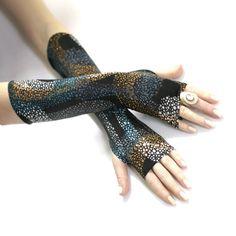 Ocean Splatter fingerless gloves  Arm Warmer Cotton  by WearMeUp