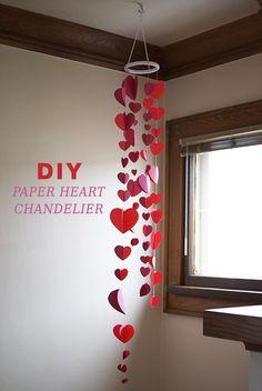 DIY Paper Heart Garland Chandelier - 60 Easy DIY Chandelier Ideas That Will Beau. Valentine Day List, Valentines Day Party, Valentine Day Crafts, Valentine Ideas, Valentines Sweets, Diy Valentine's Day Decorations, Valentines Day Decorations, Decor Ideas, Diy Ideas