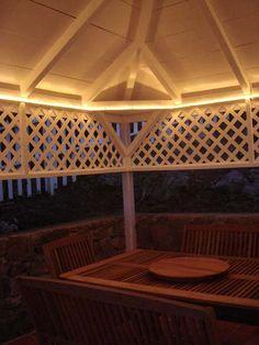 rope-lights for gazebo Gazebo Lighting, Backyard Lighting, Home Lighting, Lighting Ideas, Outdoor Deck Decorating, Outdoor Decor, Outdoor Living, Cottage, Outdoor Structures