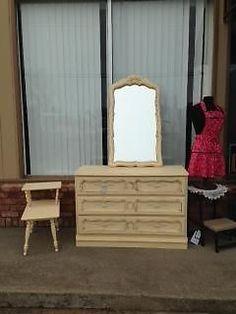 sweet yellow shabby chic dresser and mirror