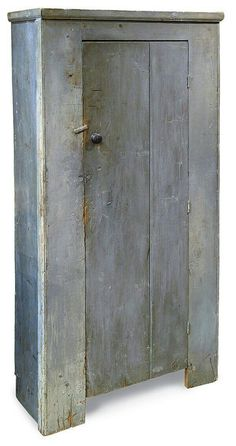 New England country pine chimney cupboard having blue/grey milk paint, x x on Jan 2010 Primitive Cabinets, Primitive Kitchen, Primitive Furniture, Primitive Antiques, Country Furniture, Recycled Furniture, Shabby Chic Furniture, Antique Furniture, Painted Furniture