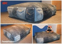 Good Snap Shots 50 cushion covers made of jeans -DIY cushion covers made from recycled materials Thoughts I love Jeans ! And even more I want to sew my own, personal Jeans. Next Jeans Sew Along I'm… Jean Crafts, Denim Crafts, Diy Jeans, Artisanats Denim, Diy Cushion Covers, Pillow Covers, Diy Dog Bed, Dog Beds, Denim Ideas