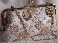 Handmade brocade, beaded, sequined clutch handbag. Cream, gold. CLASSIQUE by Lella Rae on Etsy