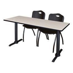 Cain 48 inch x 24 inch Grey Training Table and 2 M Stack Chairs, Multiple Colors, Black