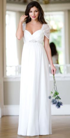 Silk Sophia Maternity Wedding Gown (Ivory) - Maternity Wedding Dresses, Evening Wear and Party Clothes by Tiffany Rose The sleeves are why I pinned this. Simple Wedding Dress With Sleeves, Wedding Dress Sleeves, White Wedding Dresses, Bridal Dresses, Wedding Gowns, Bridesmaid Dresses, Dresses With Sleeves, Cap Sleeves, Lace Wedding