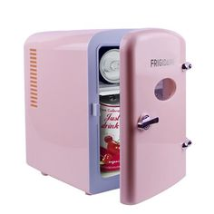 Keep snacks fresh with this retro-inspired Frigidaire Portable Retro Mini Fridge Pink). The door of this retro mini cooler stays closed with a locking latch and features a see-through window. Cute Room Ideas, Cute Room Decor, Fun Ideas, Room Ideas Bedroom, Bedroom Decor, Portable Mini Fridge, Rangement Makeup, Beverage Refrigerator, Kawaii Bedroom