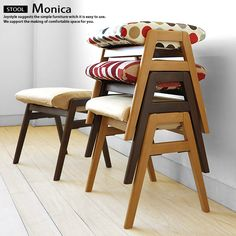 Stacking stool stack convenient chair natural color brown color MONICA-STOOL where a rubber materials pure materials tree wooden chair is pretty that it is possible for to put it
