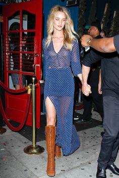 Harper's Bazaar - Rosie Huntington Whiteley Reformation dress and knee-high boots June 17, 2014