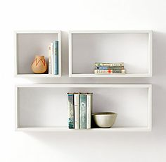 Rectangle Wood Curio Shelf above bed kids Rectangle Wood Curio Shelf - White Shelves Above Desk, Shelf Above Bed, Bed Shelves, Floating Bookshelves, Shelves In Bedroom, White Shelves, Floating Shelves Diy, Shelving, Rh Teen