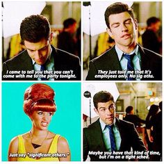 """""""Significant others"""" Schmidt. New girl. He should have gotten the jar for that one I'm just gonna pin a bunch of new girl stuff because it's so funny. Just a warning. New Girl Memes, New Girl Funny, New Girl Quotes, Tv Quotes, The Funny, Qoutes, Best Tv Shows, Favorite Tv Shows, New Girl Schmidt"""