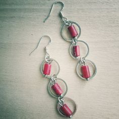 Red Coral and Sliver Circle Dangle Earrings with French Ear Wires