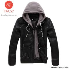 USA Size S-XXL Cotton Hooded Detachable Men's Fashion Casual Motorcycle Biker Black PU Faux Leather Jacket and Coat Slim