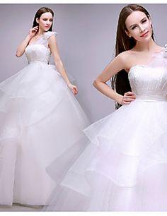 Vestido de Noiva Baile Um Ombro Só Comprido ( Tule )
