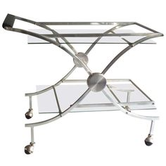 Aluminum, Chrome and Glass Drinks or Tea Cart   From a unique collection of antique and modern bar carts at http://www.1stdibs.com/furniture/tables/bar-carts/