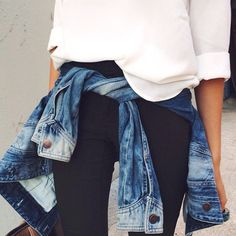 Denim jacket wrapped around your waist — effortless, casual cool.