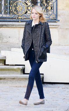 Emma Stone  WHAT:    Maje coat  WHERE:    On the street, Burbank, California  WHEN:    December 18, 2012