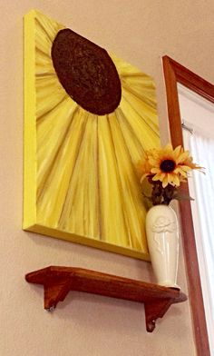 Items similar to Original Abstract Art SUNFLOWER Textured Acrylic Canvas Painting Make to order large Wall Art by JP Morris - Spring and Summer Decor on Etsy Canvas Crafts, Diy Canvas, Canvas Art, Canvas Paintings, Canvas Ideas, Painted Canvas, Wow Art, Diy Painting, Painting Flowers