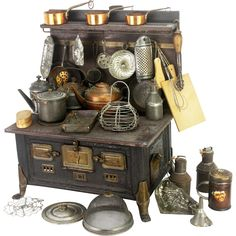 Antique Marklin Toy Doll Stove with Miniature Accessories from frederickpine on Ruby Lane