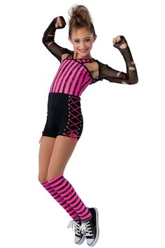 15352 High Voltage | Hip Hop Funk Dance Costumes | Dansco 2015 | Printed and black spandex short unitard. Separate black mesh shrug. Black spandex binding and grommeted black web trim. Socks and cord for lacing included.