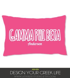 Gamma Phi Beta pillow, sorority pillow, sorority big little gifts,  sorority pillowcase, sorority little pillowcase. $28.00, via Etsy.