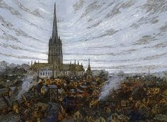 Salisbury, pen and ink, drawing, cathedral Rob Adams, Salisbury Wiltshire, Salisbury Cathedral, Britain, 19th Century, England, Ink, Drawings, Painting