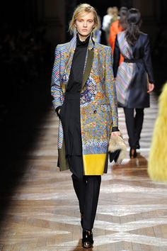 I just like the vibrant p on this coat and most of the pieces from Dries Van Noten's Fall 2012 collection. This was done by taking photos of the robes from the Far East Collection of the Victoria and Albert Museum and then they were digitally printed on the fabrics.  Photographed by Yannis Vlamos (GoRunway.com)