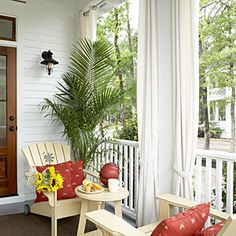 Style Guide: 60 Breezy Porches and Patios   Pretty Back Porch   SouthernLiving.com