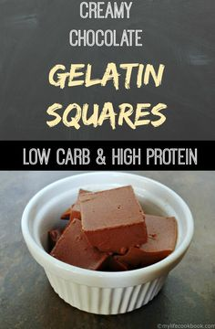 These low carb chocolate gelatin squares are the perfect treat that uses Great Lakes Gelatin. It's creamy, silky, chocolate flavor is packed with protein. Only net carbs per serving. Healthy Protein Snacks, High Protein Recipes, Low Carb Recipes, Vegetarian Protein, Snacks Recipes, Vegetarian Meals, Thai Recipes, Indian Recipes, Keto Snacks