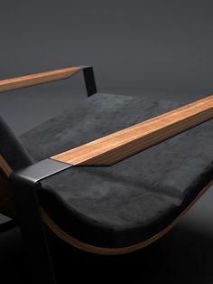 Details we like / Chair / Black Lether / Wood Arm rests / Furniture Design / at Source: behance.net