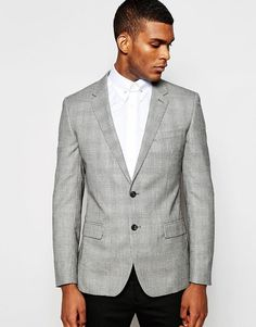 Reiss Prince Of Wales Check Blazer /Jacket %100 Wool in Slim Fit Grey 38 Chest