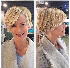 Our beautiful client Debbie went from SUPER long locks to this adorable fuss-fre. - Our beautiful client Debbie went from SUPER long locks to this adorable fuss-free cropped cut! Flamboyage, razorcut and style by Master Stylist Rosaline! Messy Short Hair, Cute Hairstyles For Short Hair, Short Hair Cuts For Women, Pretty Hairstyles, Short Hair Styles, Short Haircut, Good Hair Day, Great Hair, Growing Out Hair