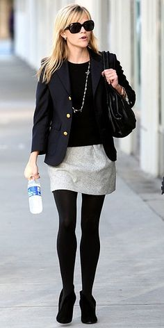 Reese Witherspoon inspiration. Love how effortless this is: black blazer, simple skirt, opaque tights & booties