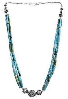 Turquoise Tubes Necklace with Sterling Beads