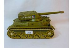 "Large French tin plate tank with battery operated approx. 13"" long x 5"" tall"