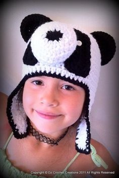 Panda Beanie $25.00 Copyright © Dz Crochet Creations 2011 all rights reserved