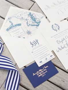 Nautical inspired #wedding invitation suite, image by Erich McVey. See more in the Spring 2014 issue of Weddings Unveiled.