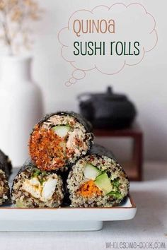 Quinoa sushi! Your average sushi roll is just a lot of white rice, not overly nutritious. A lot of carbs though. Switch white rice for superfood quinoa. High in protein and a rich source of minerals, a much healthier #vegan #glutenfree option!