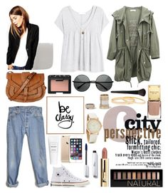 """Sunday Morning Casual"" by campbellfauber ❤ liked on Polyvore featuring Levi's, Converse, MANGO, Warehouse, Kenneth Cole, Forever 21, NARS Cosmetics, DENY Designs and INIKA"
