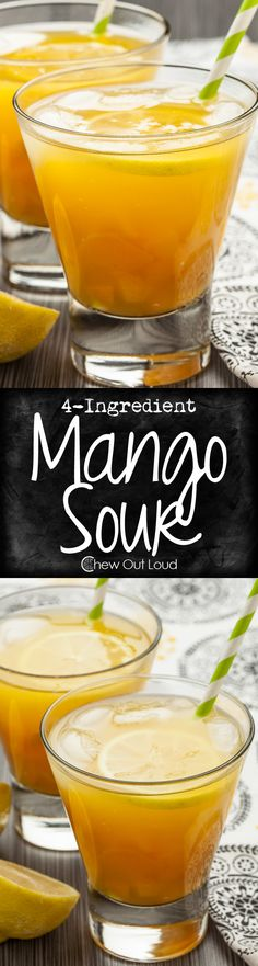 4-Ingredient Mango Sour - Refreshing, juicy, and so quick 'n easy. Crowd pleasing recipe to share with your friends this time of year!