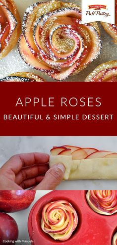 Create a homemade dessert as delicious as it is beautiful with this Apple Roses recipe by Manuela of Cooking with Manuela. Perfect for fresh-picked apples in the fall, a stunning Thanksgiving dinner addition, or a small holiday brunch. They taste like apple pie and are made with sweet apples, apricot preserves, lemon juice, cinnamon, and flaky Pepperidge Farm® Puff Pastry. Sprinkle with a light dusting of powdered sugar to finish off your new favorite treat. Pepperidge Farm Puff Pastry, Homemade Desserts, Delicious Desserts, Yummy Food, Apple Rose Pastry, Apple Roses, Puff Pastry Apple Pie, Baked Apple Dessert, Apple Desserts