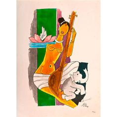 Untitled by M. Indian Folk Art, Indian Artist, Mf Hussain Paintings, Wall Art Prints, Fine Art Prints, Kalamkari Painting, Acrilic Paintings, Contemporary Art Prints, Abstract Painters