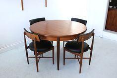 Original mid-century modern Danish design G-Plan dining table and chairs. Casa Morada, Edinburgh.