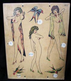 Tattoo Shop Decor, Antique Tattoo, Tattoo Flash Sheet, Vintage Tattoos, Vintage Flash, Traditional Tattoo Flash, Ancient Egyptian Art, American Traditional, Art Auction