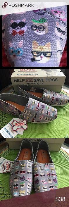 🆕 Bobs from Sketchers Memory Foam Shoes Super cute Bobs from Sketchers Memory Foam Shoes!  These grey shoes with nerdy cats and dogs all over them are just adorable and comfortable.  They have memory foam and an arch pillow.  Purchasing these shoes help to save dogs' and cats' lives.  ☺️ Bobs from Sketchers Shoes